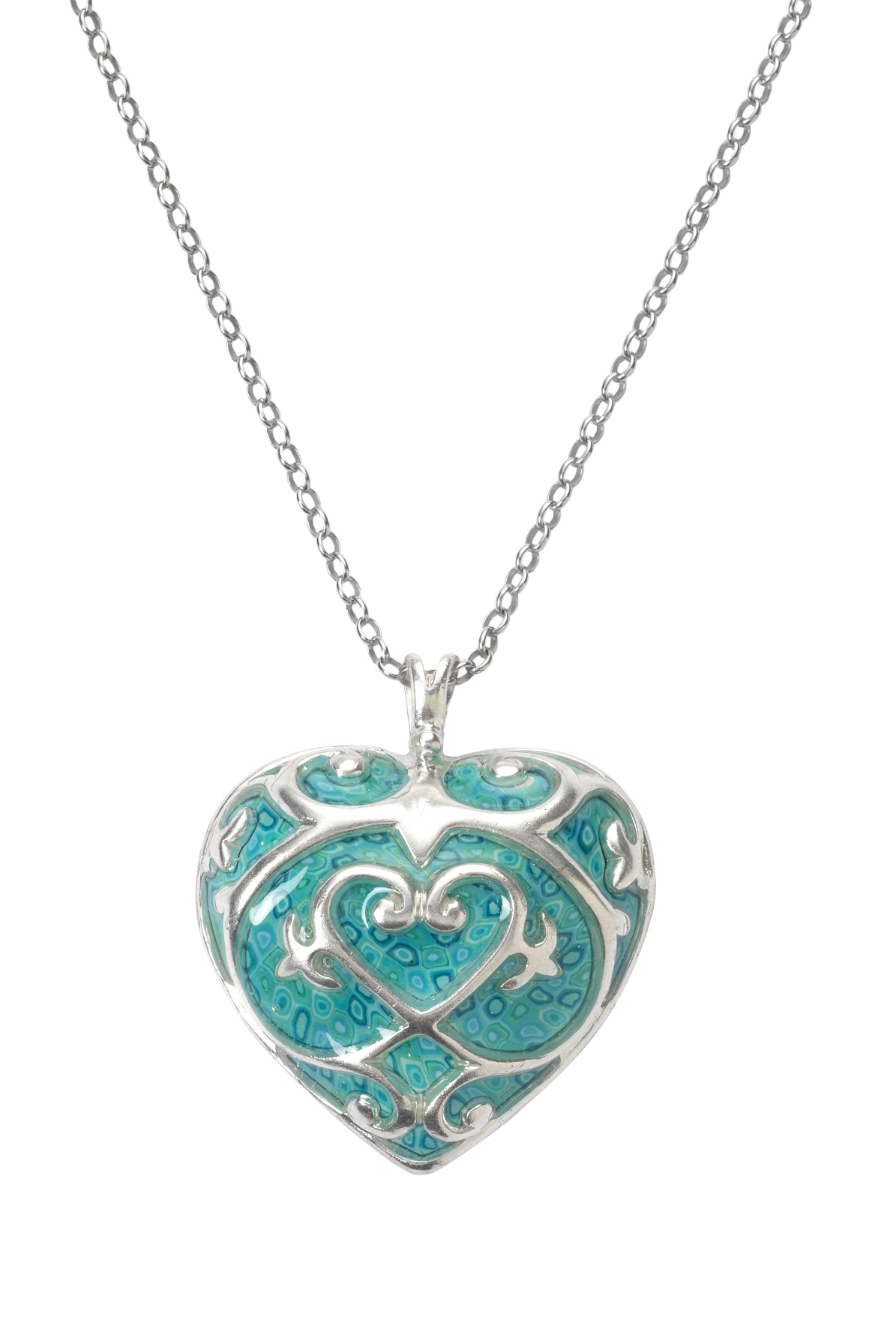 This Adina Plastelina heart pendant is decorated with turquoise
