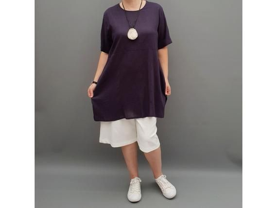 Linen Tunic Summer Top Loose Lagenlook Blouse Short Sleeve Plus Size [l1064_navy3] #linentunic