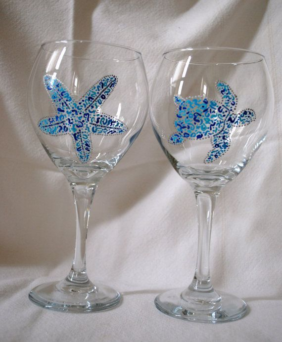 Painted Wine Glasses Ideas Hand Painted Beach Themed Wine Glasses