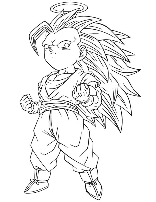 Gotenks Super Saiyan 3 Form In Dragon Ball Z Coloring Page Kids Play Color Dragon Ball Z Dragon Ball Coloring Pages