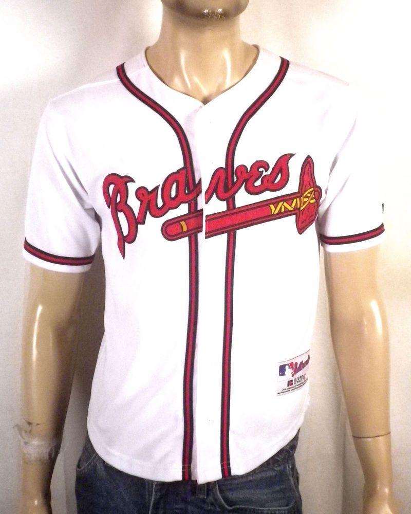 Vtg 90s Russell Authentic Mlb Atlanta Braves Baseball Jersey Sewn Logos Youth M Atlantabraves Atlanta Braves