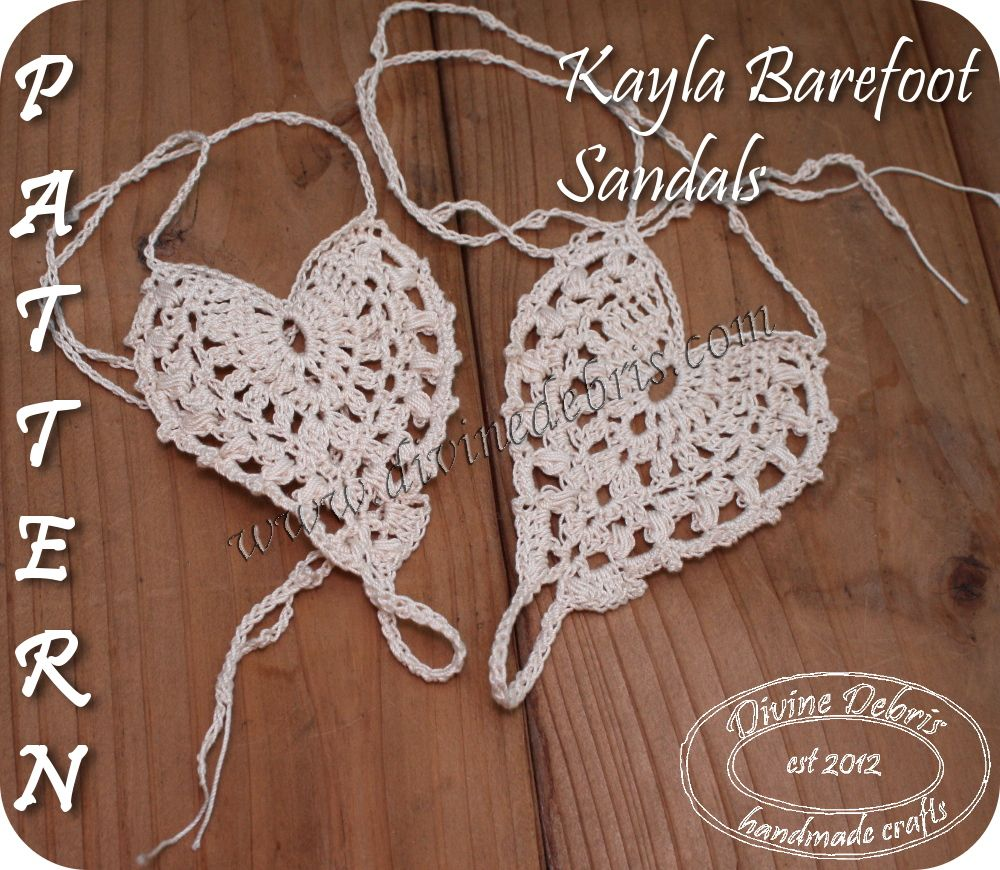Simple, free and heart shaped crochet barefoot sandals, the Kayla ...