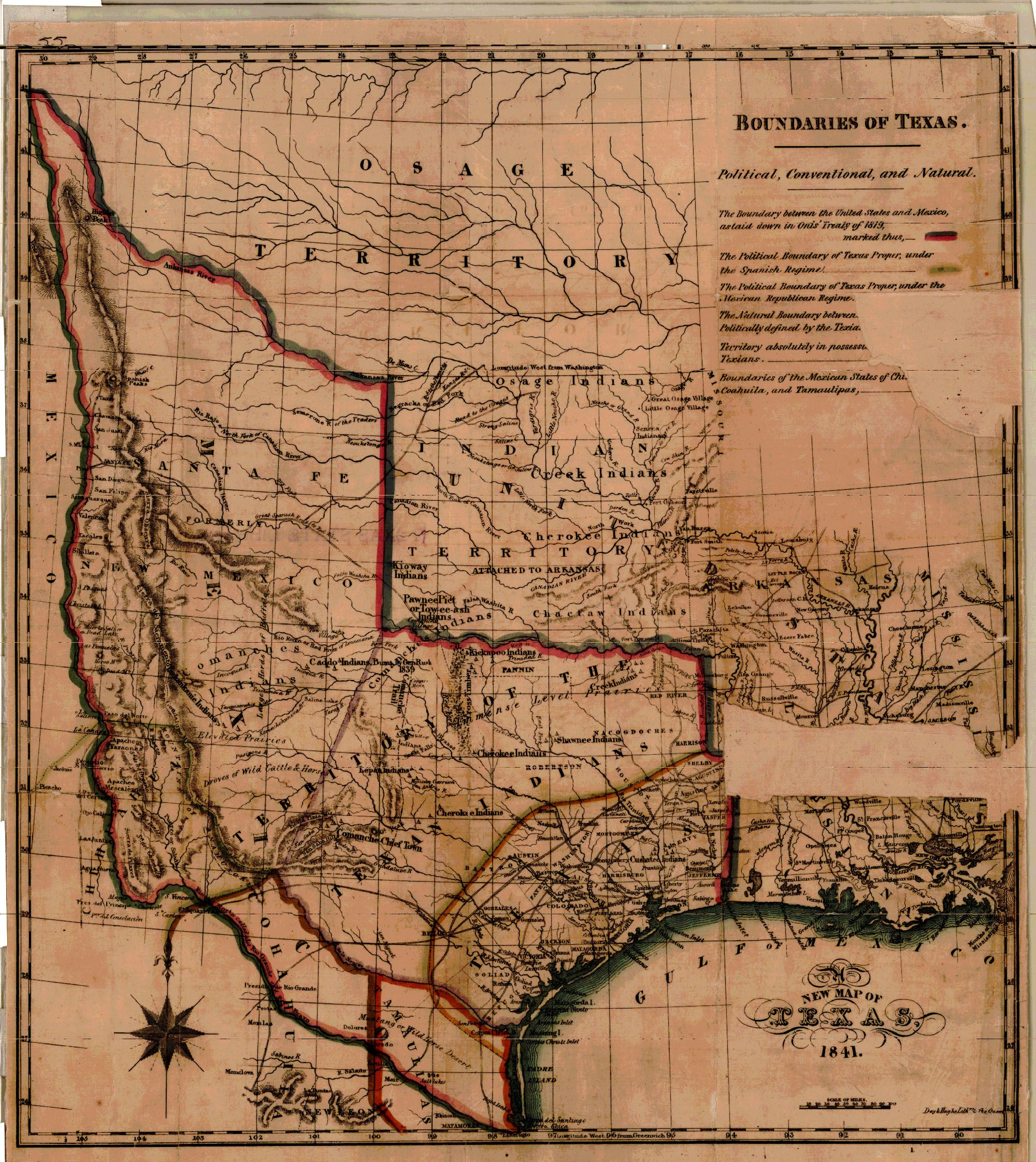 Hereu0027s an 1841 map of Texas that