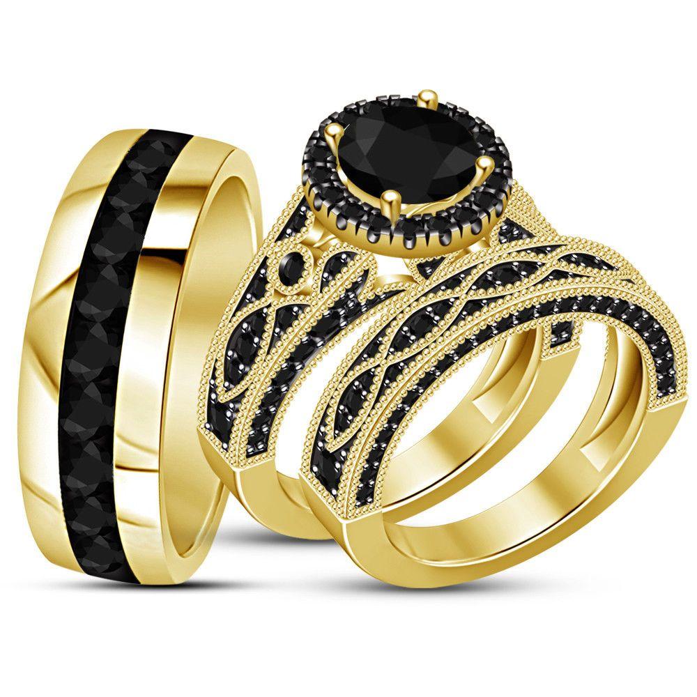 His Her Round Shape Wedding 14K Yellow Gold Over Diamond