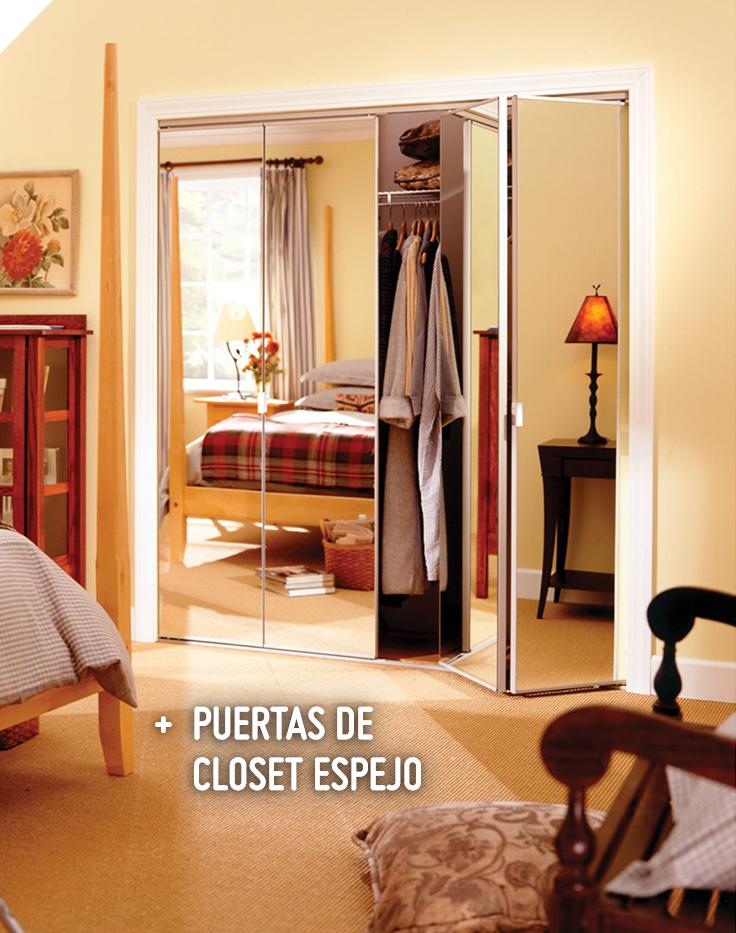 Erias kit puerta closet plegable con espejo 60x205 cm for Puertas correderas sodimac