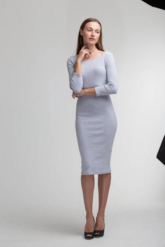 b8c325b4b39 Mother Day GIft , Midi Dress, Bodycon Dress Casual Dress Sexy Dress Elegant  Office Dress Light Grey