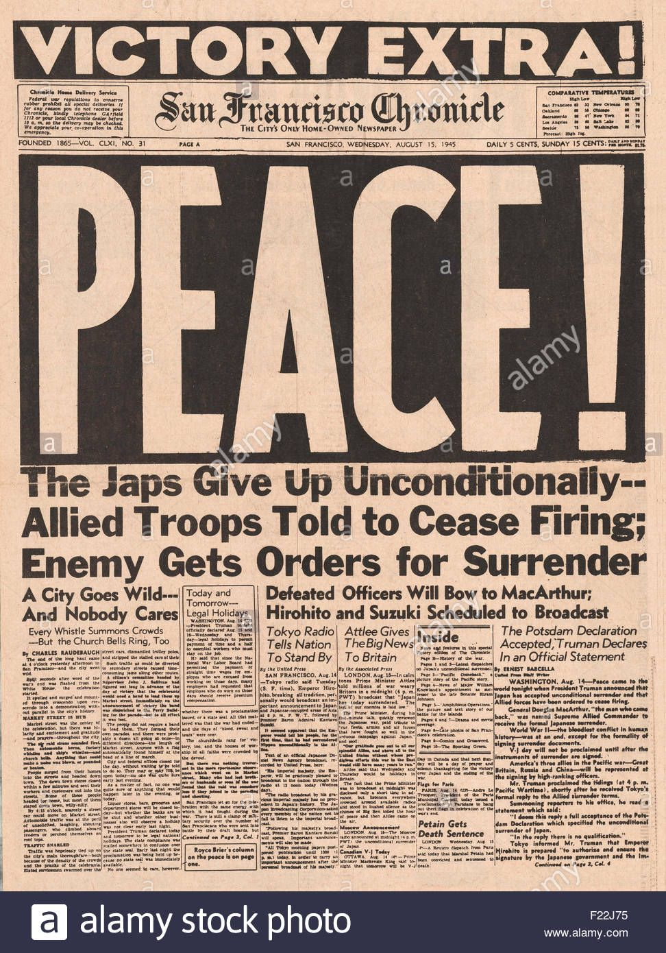 1945 San Francisco Chronicle Front Page Reporting The End Of World