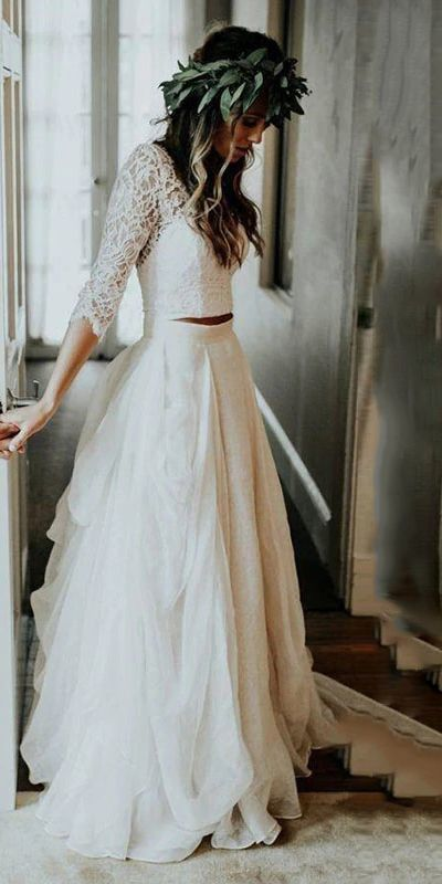 Lace 3/4 Sleeve Wedding Dresses Chiffon Two Piece Beach Bridal Dress ML2976