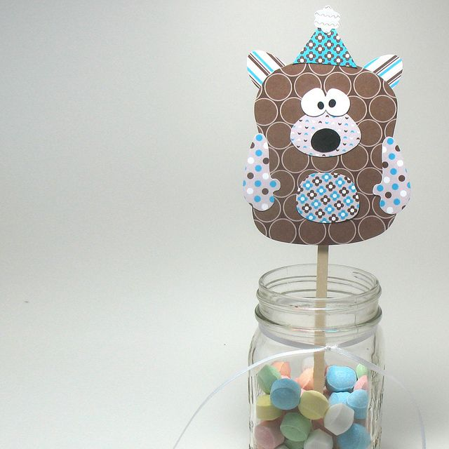 Party Bear Embellishment - Printable Layered Papercraft Template by scrappyllama, via Flickr