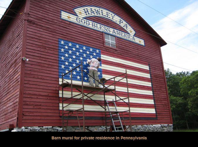 Barn Mural American Flag American Barn Barn Old Barns
