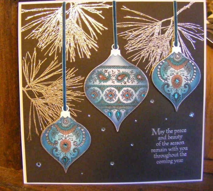 The Craft Shed: Festive baubles - Elaine used Chocolate Baroque Indian theme stamps on bauble die cuts, fabulous!