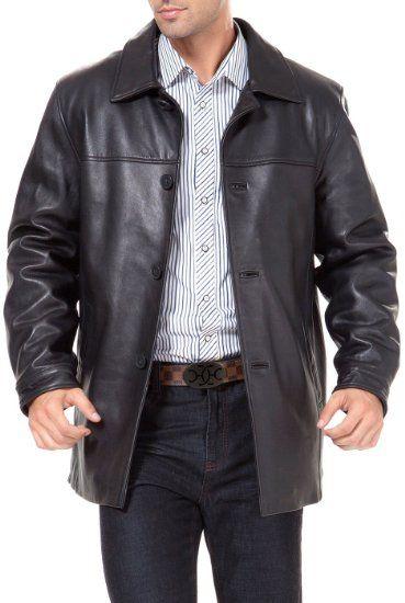 Amazon.com: BGSD Men's New Zealand Lambskin Leather Car Coat ...