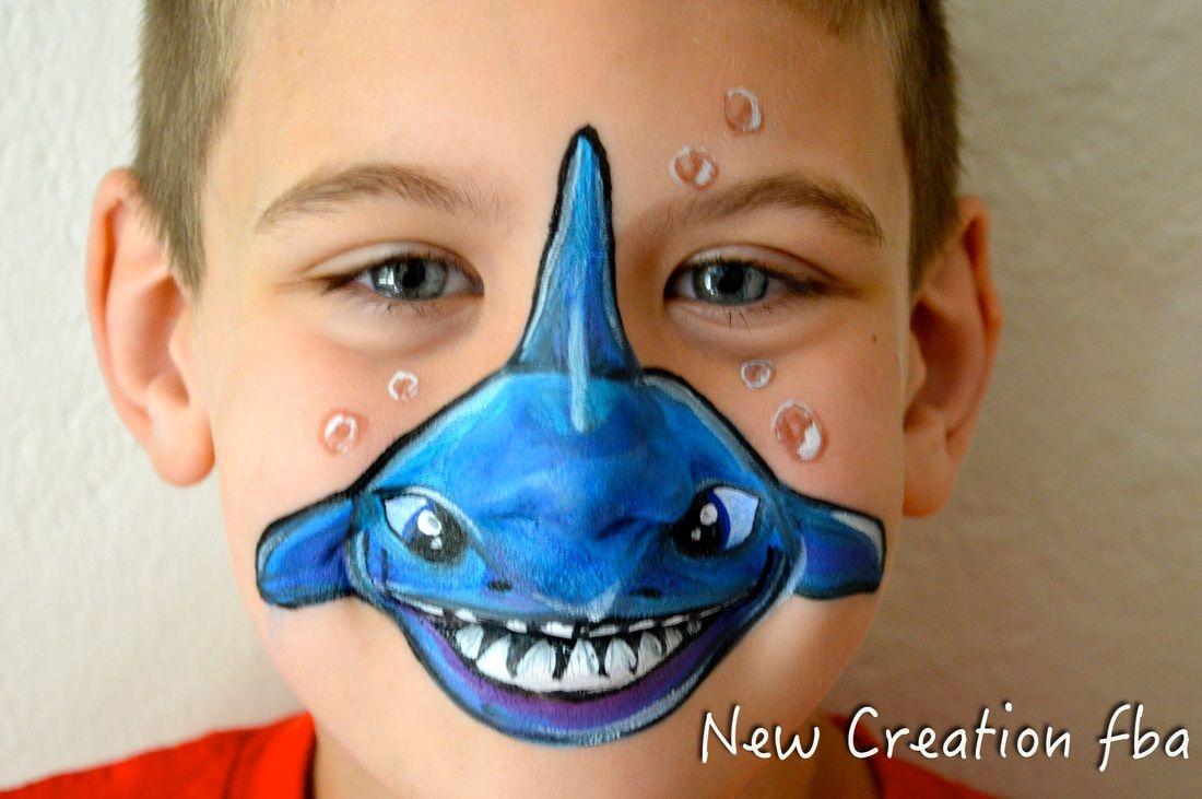 Fish Face Paint חיפוש ב Google Shark Face Painting Face Painting Halloween Kids Face Paint