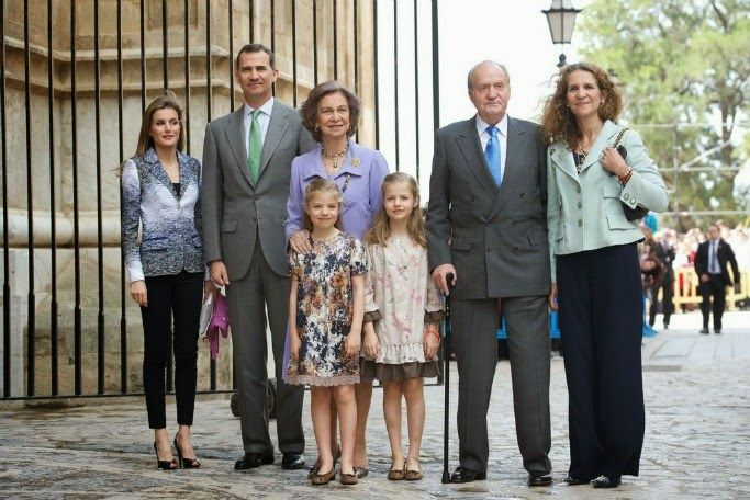 Spanish Royal Family attended  the Easter Mass at the Cathedral of Palma de Mallorca in Palma de Mallorca....April 20, 2014