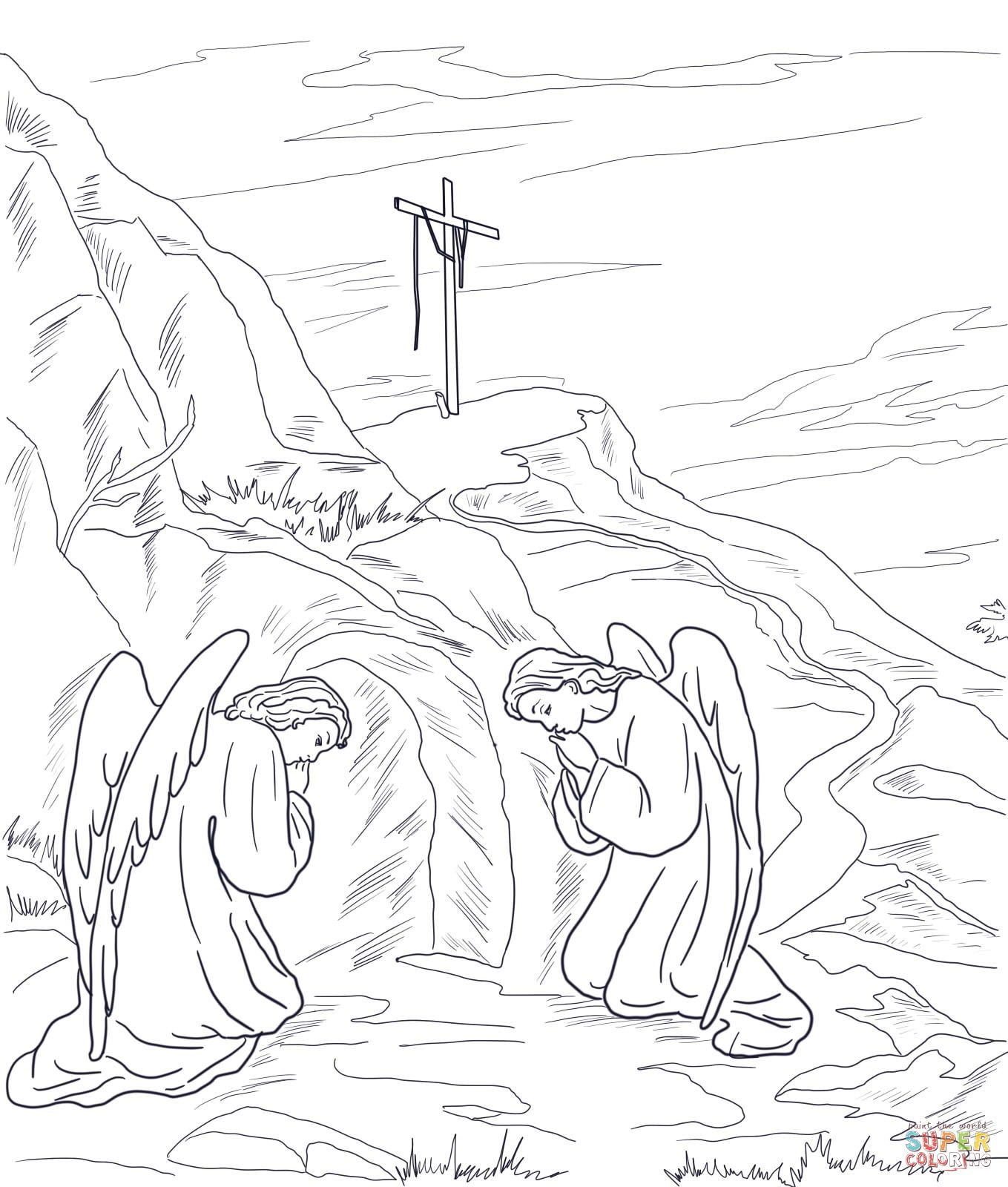 Tomb Tattoo Idea Empty Tomb Coloring Pages Easter Coloring Book [ 1600 x 1359 Pixel ]