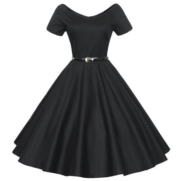 395524f3cf51b Audrey Hepburn vintage 50s 60s V-neck short sleeve belt tunic ball gown  dress women casual party dresses robe vestidos de fiesta - Alternative  Measures - - ...