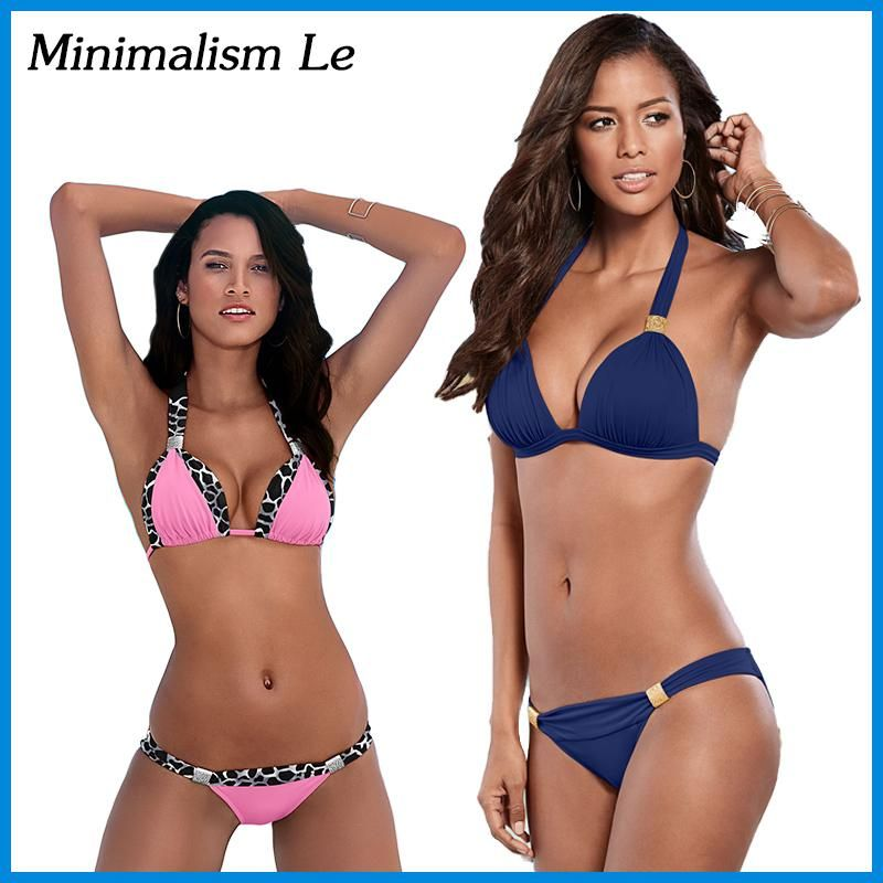 ebcc64ad61 Minimalism Le Sexy Halter Top Bikini 2018 Women Swimwear Bathing Suits Push  Up Swimsuit Bikini Set Maillot De Bain Biquini BK781