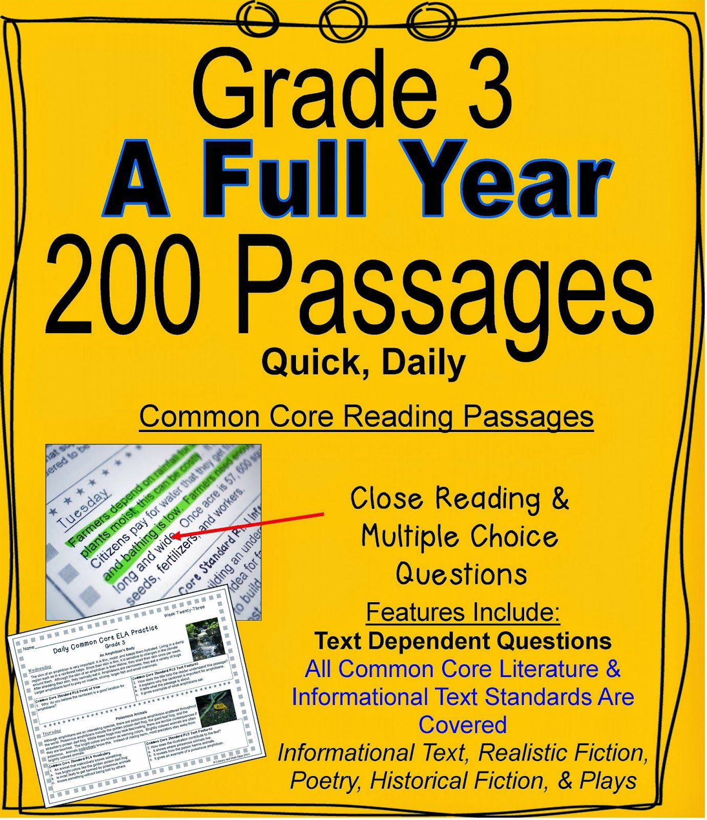 A Full School Year Daily Common Core Reading Grade 3