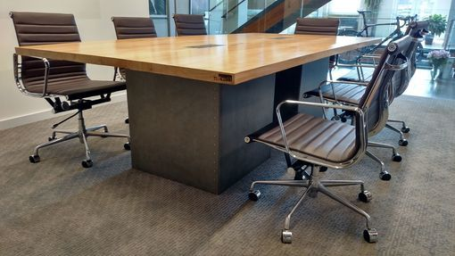 Custom Made Reclaimed Wood And Steel Industrial Conference Table - Industrial conference room table