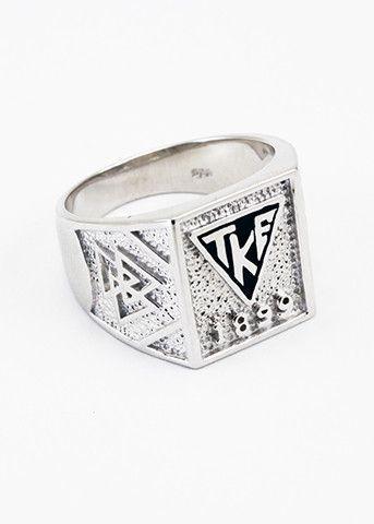Tau Kappa Epsilon Sterling Silver Black Enamel House Plate Ring