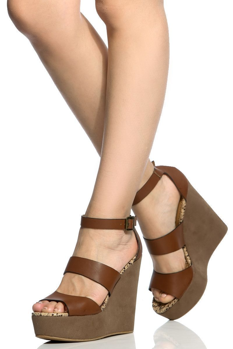 d055934990c ... best loved Chestnut Faux Leather Ankle Strap Platform Wedges Cicihot  Wedges Shoes StoreWedge Shoes