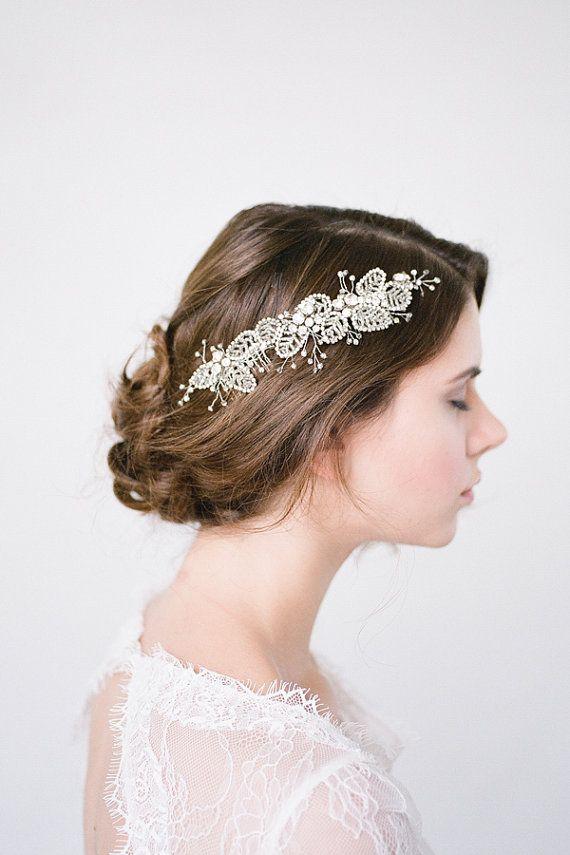 Amarantha Swarovski Crystal Headcomb Silver Bridal Headpiece  Wedding