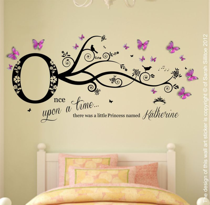 Personalised Name, Once Upon a Time Princess - Wall Art Sticker ...