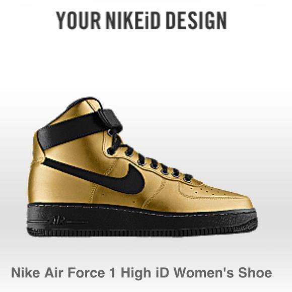 Nike Air Force One in gold - custom! Size 7.5.