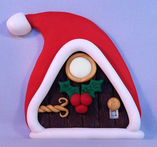 Santa Polymer Clay Fairy Door #1