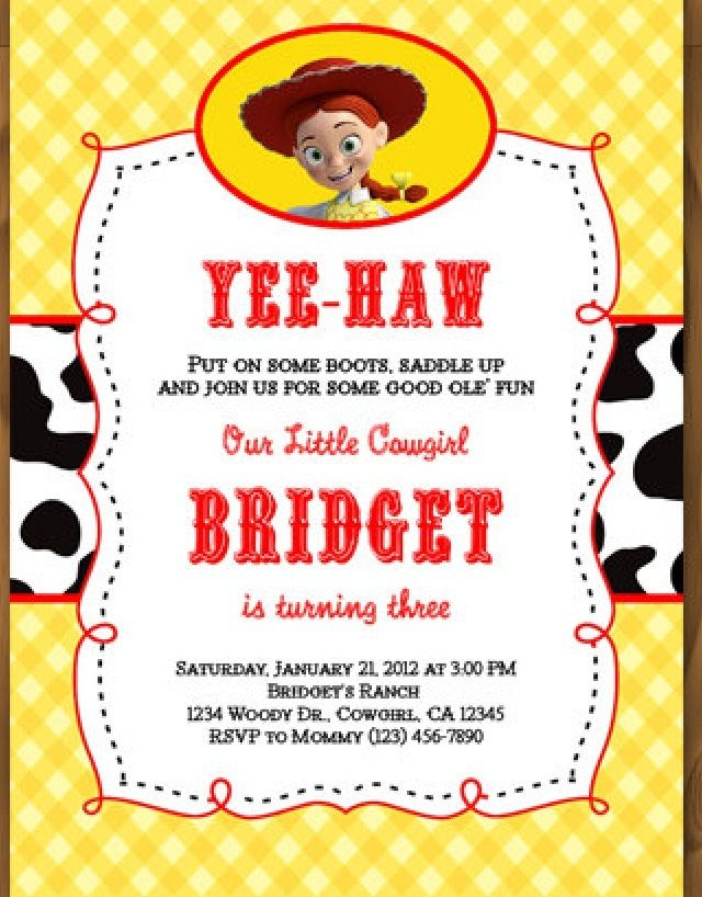 Cute invitation | {Howdy! Woody & Jessie Cowboy Party!} | Pinterest ...