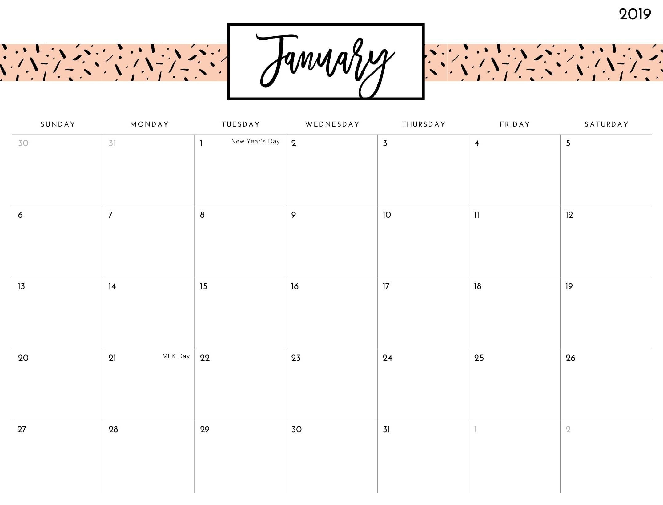Cute Calendar January 2019 January 2019 Cute Calendar | January 2019 Calendar Printable