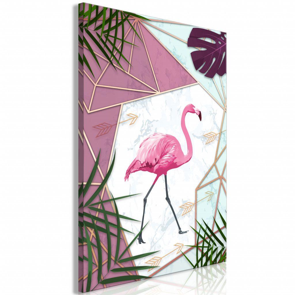 Obraz Na Plotnie Spacer Flaminga 1 Czesciowy Pionowy In 2020 Flamingo Art Vertical