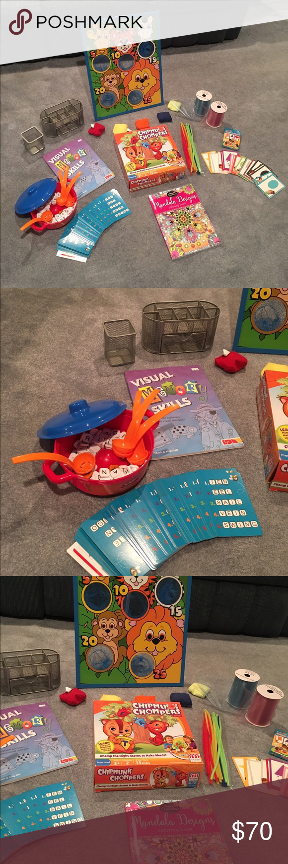 Fun Game Activity Bundle All In New Or Like Condition You Get A Coloring Book Colors And Shapes Flash Cards Blue Pink Ribbon Chipmunk Chomped