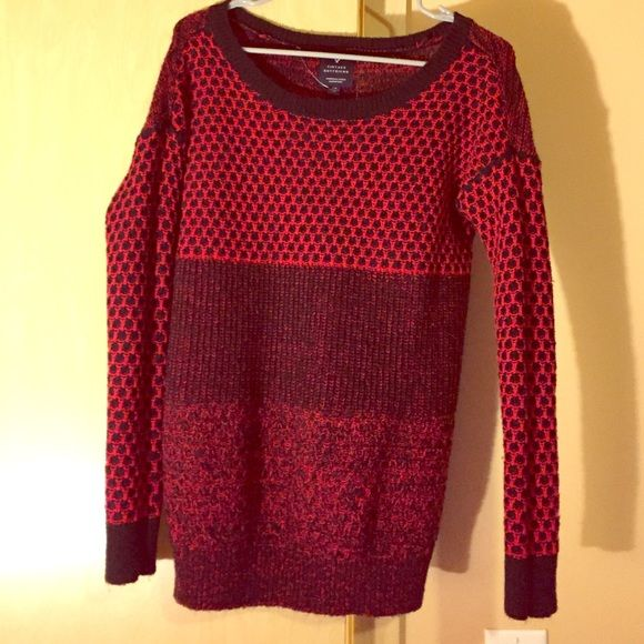 American Eagle vintage boyfriend sweater Red and black sweater ...