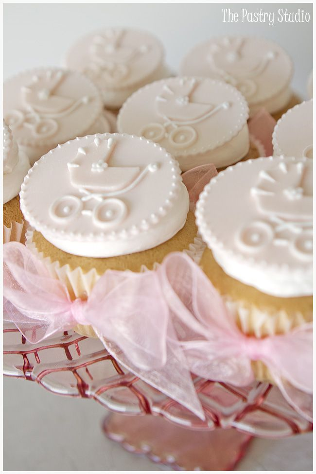 Pink Vintage Antique Baby Carriage Cupcakes With Bows By The Pastry Studio