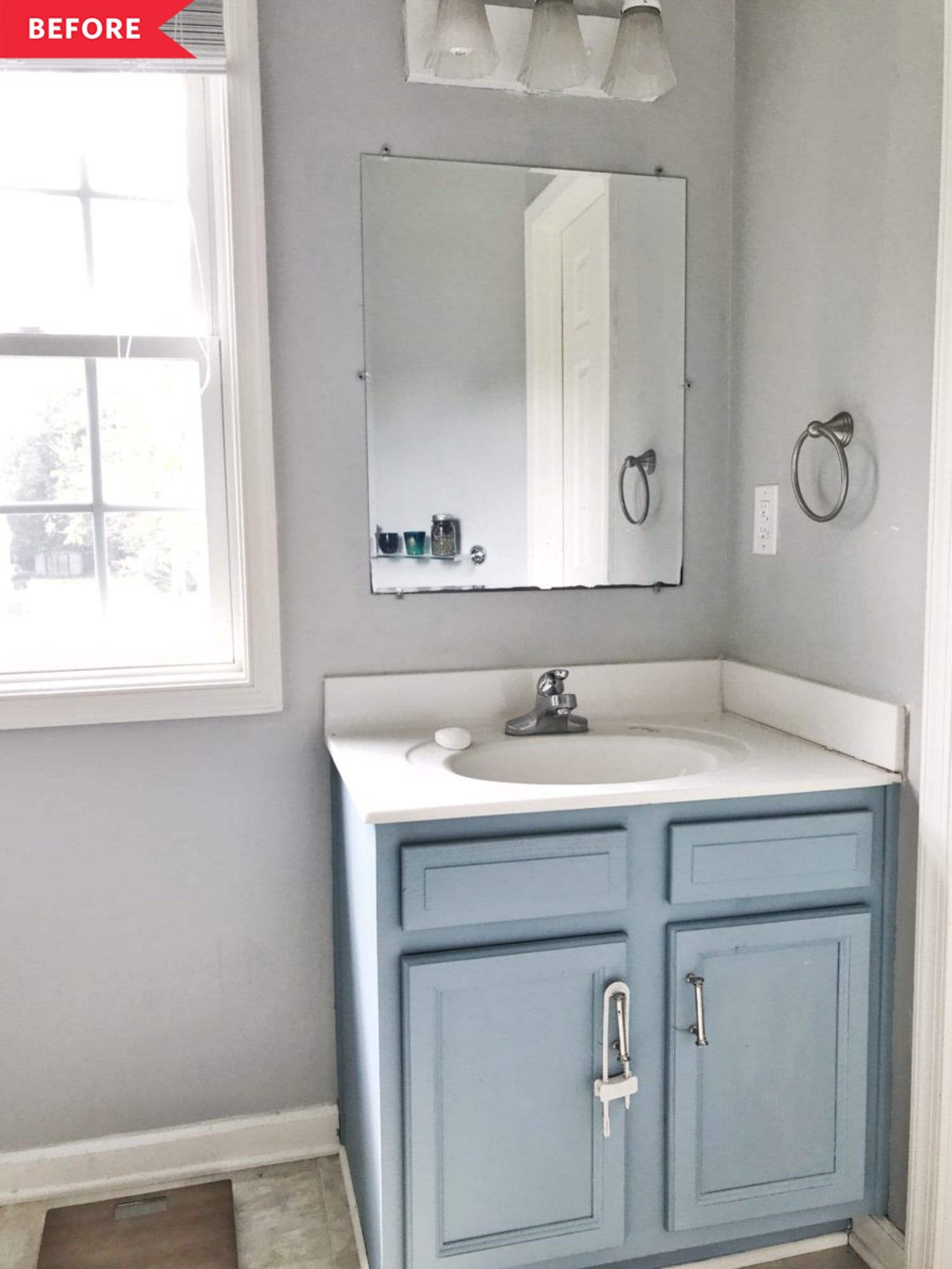 Before and after this buildergrade bathrooms chic