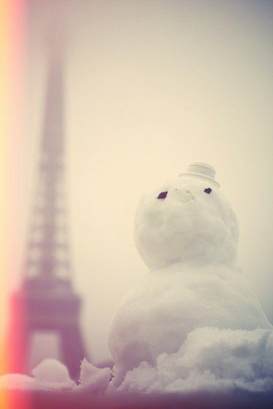 snow man in paris