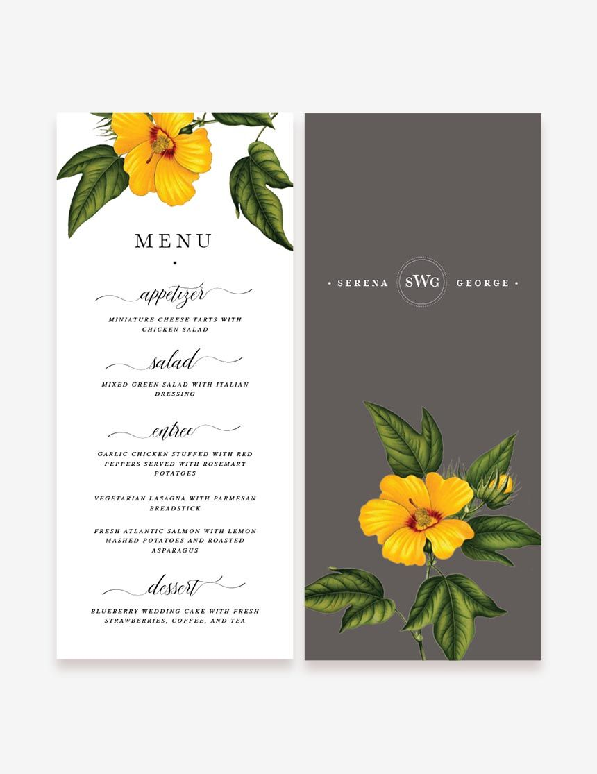 Vintage Yellow Reception Menu. Wedding menu design at www.inatondesign.com