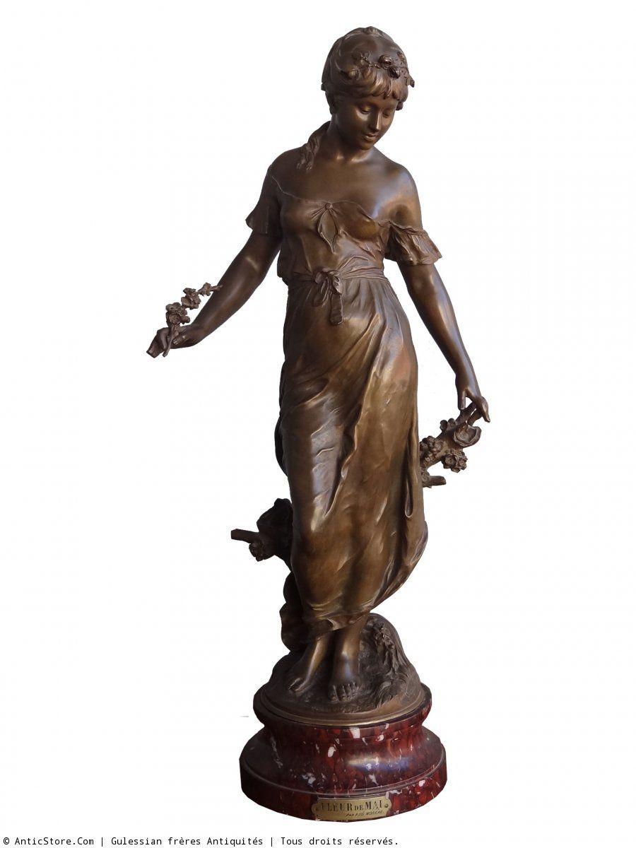 13cc76eba60 Lovely Antique Auguste Moreau Bronze Sculpture Woman Sitting