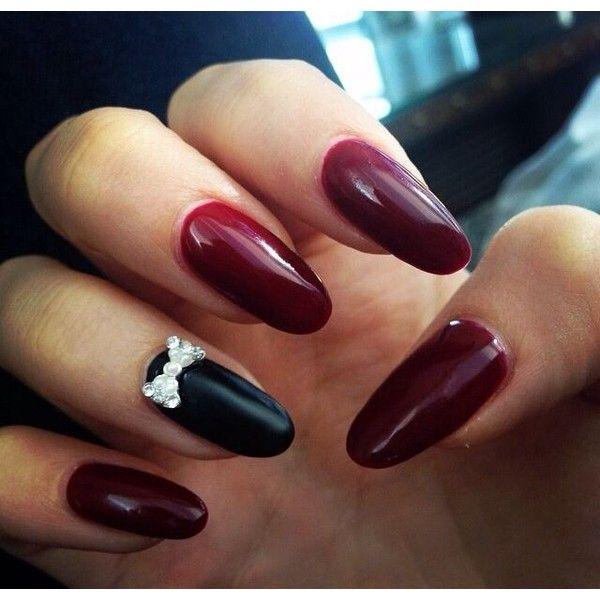 almond nails dark red with matte