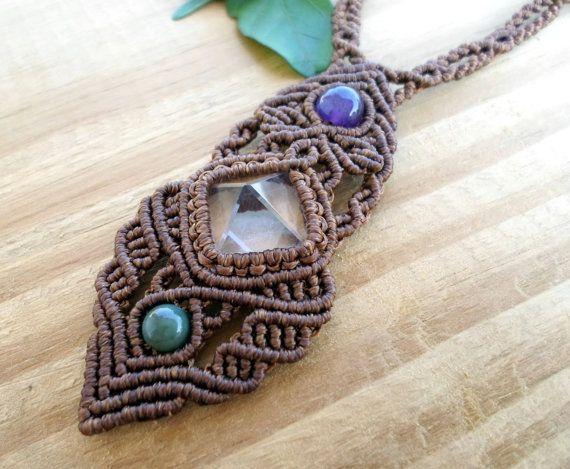 Crystal quartz macrame necklace macrame jewelry by SelinofosArt