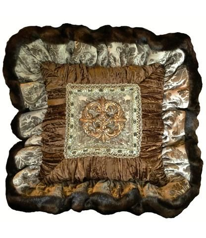 Decorative Pillow Taupe Chocolate Brown Ruffled Jeweled Medallion Best Jeweled Decorative Pillows