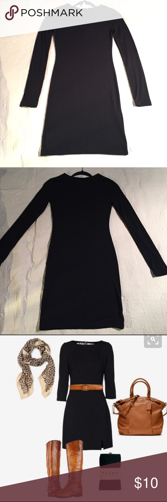 "Black dress Dress it up or down. This is a great basic black dress to have in your wardrobe. Polyester/Rayon/Spandex makes it soft, stretchy, & comfy. V neckline & long sleeves. Measured flat= 34"" top to bottom. 14"" across unstretched. Size S Forever 21 Dresses Long Sleeve"