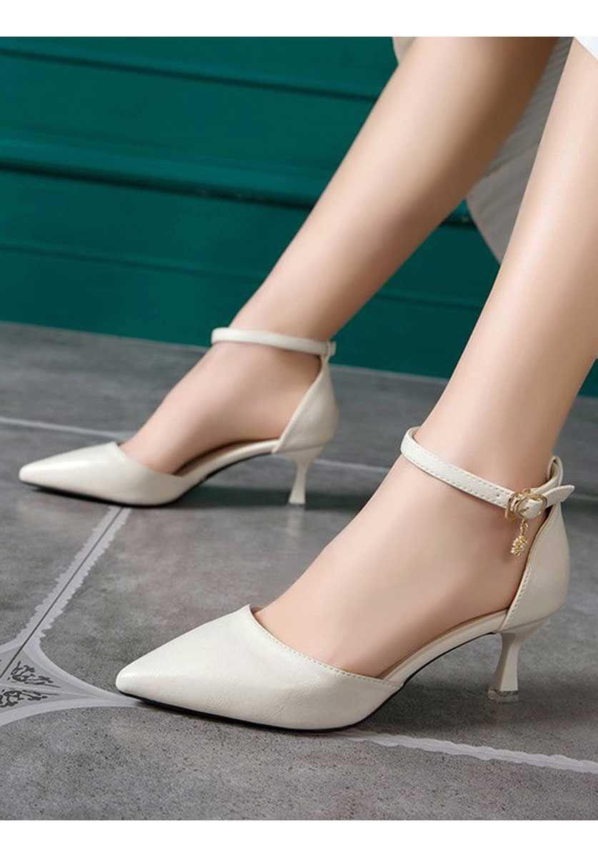 Beige glossy ankle strap mid heel dress