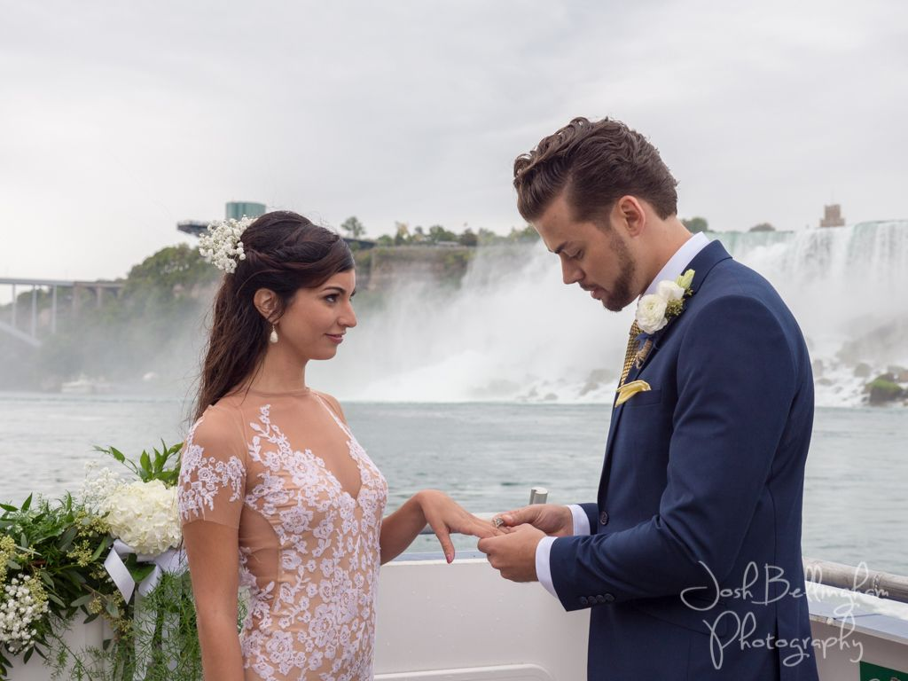 Niagara Falls Wedding Ceremony Under The Groom Saying His Vows And Putting Ring