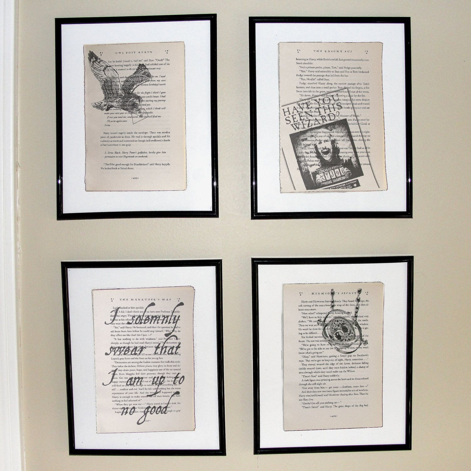 Harry Potter Prisoner Of Azkaban Book 3 Upcycled Book Page Art Prints Home Decor Great For Framing Book Page Art Upcycle Books Harry Potter Nursery