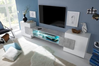 Wohnzimmer Hochglanz ~ Tv element in weiss hochglanz lackiert beton jetzt bestellen unter