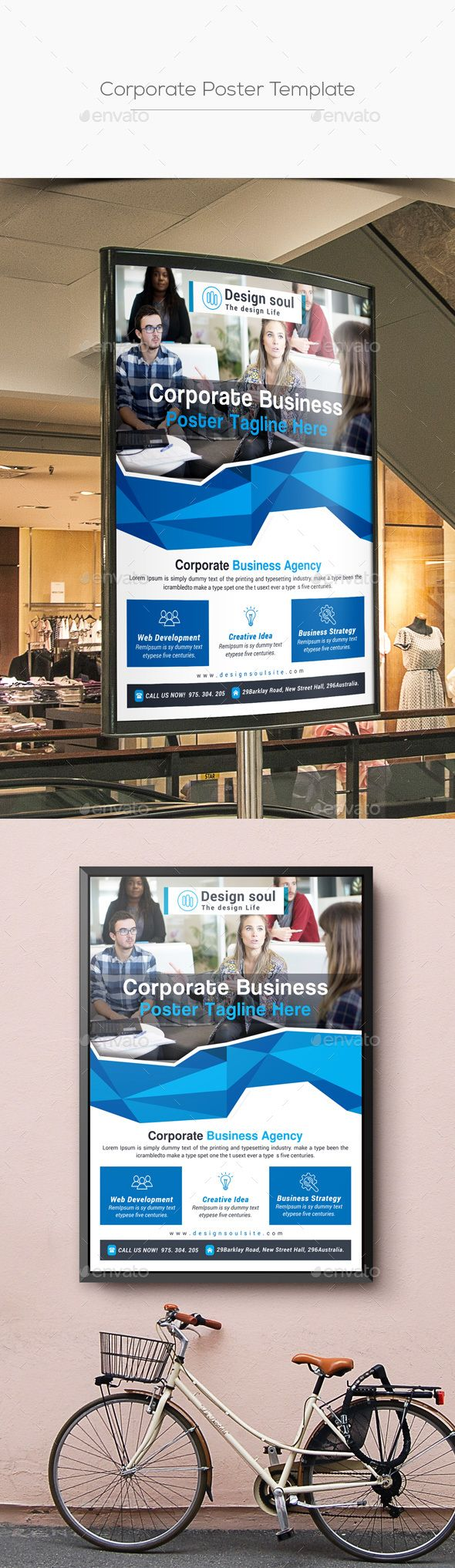 corporate poster template template adobe and font logo