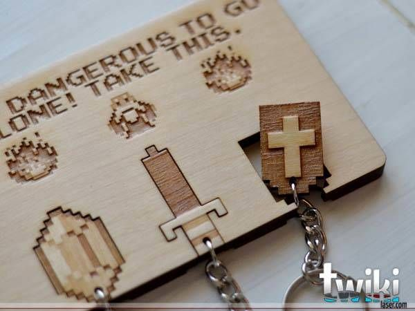 Handmade Legend of Zelda Wall Key Holder with Three Keychains