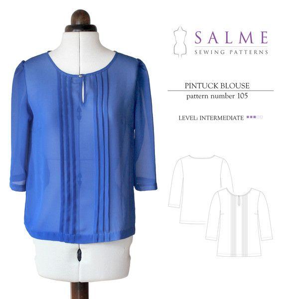 Salme - Pintuck Blouse | mes pdf | Pinterest